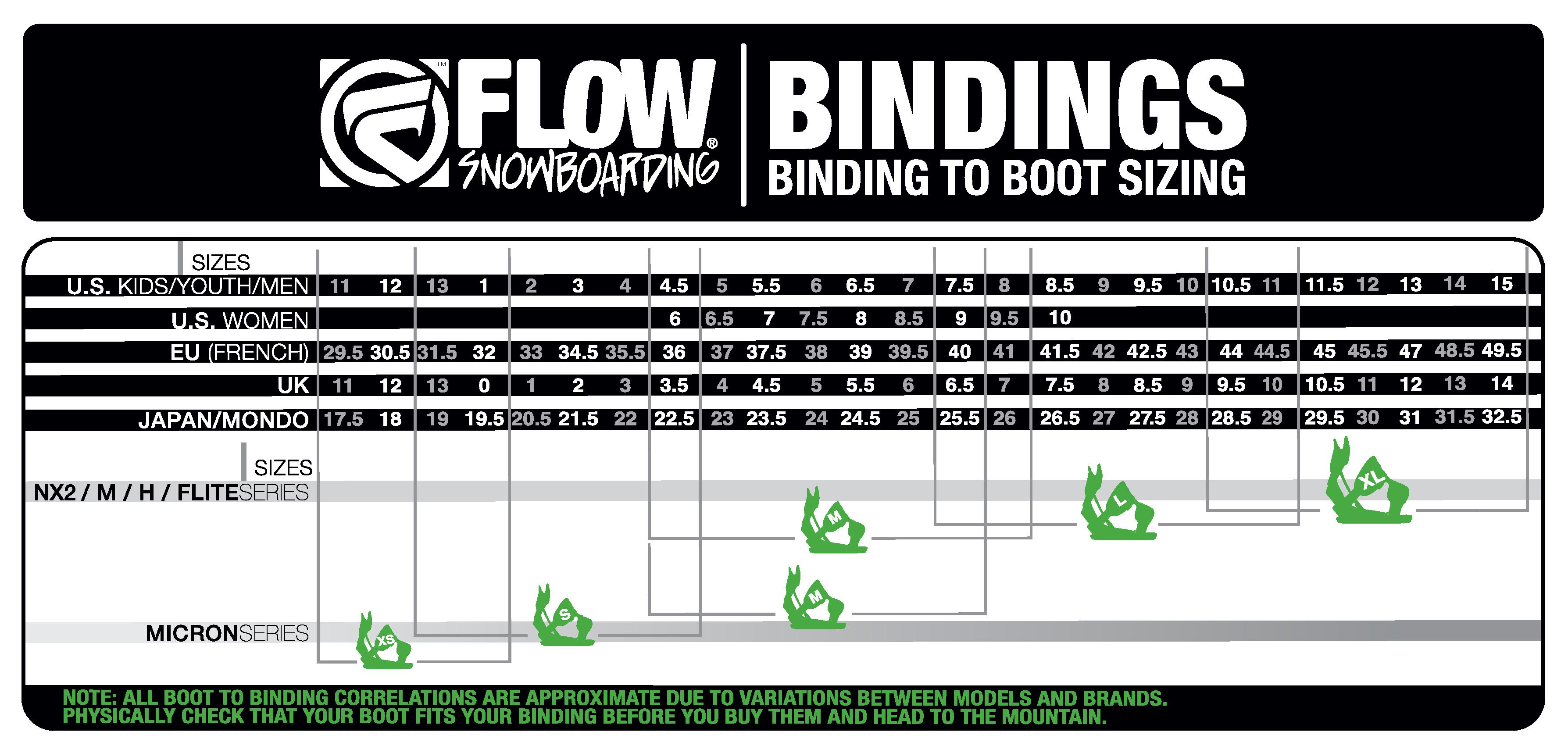 Flow bindings size chart snowboard binding size chart flow image